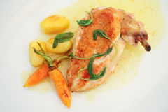 Chicken leg with potatoes. On dish Royalty Free Stock Images