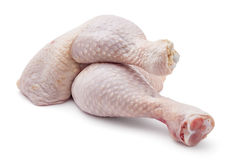 Chicken leg quarters. Fresh raw chicken leg quarters on white background royalty free stock photo