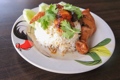 Chicken leg with rice. A chicken leg with rice Royalty Free Stock Images