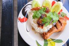 Chicken leg with rice. A chicken leg with rice Stock Photos