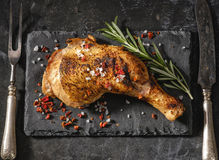 Chicken leg roasted. View from above royalty free stock photos