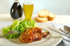 Chicken leg with salad Royalty Free Stock Image