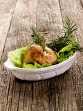 Chicken leg with  salad Stock Photo