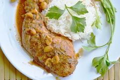 Chicken leg spicy and sweet curry and plain rice on dish Stock Photos