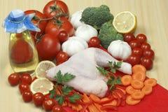 Chicken leg and vegetable Stock Photos