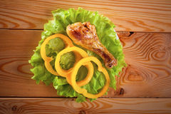 Chicken leg with vegetables Royalty Free Stock Photos