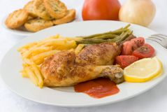 Chicken legs with asparagus Royalty Free Stock Image