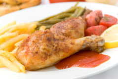 Chicken legs with asparagus Royalty Free Stock Photography