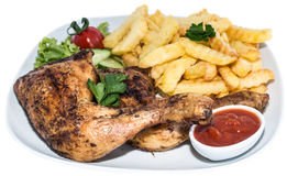 Chicken Legs with Chips (on white) Stock Image