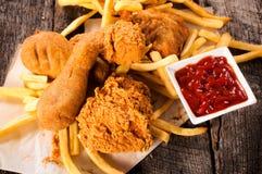Chicken legs fried stock photo