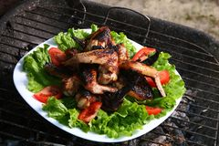 Chicken legs on the grill with vegetables Stock Photography