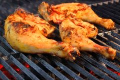Chicken Legs On  The Hot BBQ Grill Stock Photo