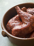 Chicken Legs Marinating in Tandoori Paste Royalty Free Stock Image