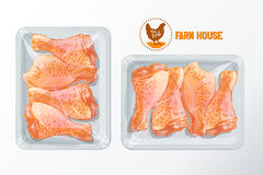Chicken legs polystyrene packaging vector. Fresh chicken legs White polystyrene packaging, vector mockup Top view vintage vector isolated sketch hand drown Stock Images