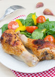 Chicken legs and salad Royalty Free Stock Photo