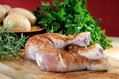 Chicken legs seasoned with paprika Stock Photo