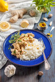 Chicken with lemon, curry, ginger and rice. Eastern, Indian, Asian cuisine Stock Image