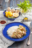 Chicken with lemon, curry, ginger and rice. Eastern, Indian, Asian cuisine Stock Photos