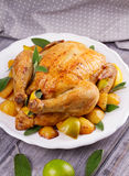 Chicken with Lemon, Lime and Potato Garnished with Sage. Stock Images