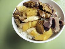 Chicken and liver bowl rice Royalty Free Stock Photography