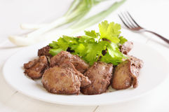 Chicken liver decorated parsley Royalty Free Stock Photo