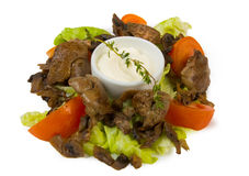 Chicken liver fried with vegetables Stock Photos