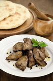 Chicken liver with garlic sauce Royalty Free Stock Photo
