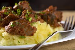 Chicken liver and mashed potatoes Stock Images