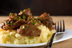 Chicken liver and mashed potatoes Royalty Free Stock Photography