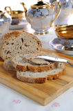 Chicken liver pate on bread Royalty Free Stock Images
