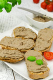 Chicken liver pate with bread Stock Photography