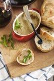 Chicken liver pate on bread. Stock Photo