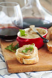 Chicken liver pate on bread and wine Royalty Free Stock Photo