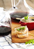 Chicken liver pate on bread and wine Royalty Free Stock Images
