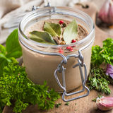 Chicken liver pate in glass jar Royalty Free Stock Photography