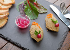 Chicken Liver Pate with Onion Marmalade dish Stock Image
