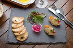 Chicken Liver Pate with Onion Marmalade dish Royalty Free Stock Photography