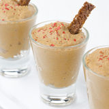 Chicken liver pate in of portion glasses, selective focus Royalty Free Stock Photos