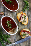 Chicken liver pate with red wine jelly Royalty Free Stock Images