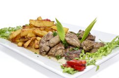 Chicken liver and potatoes Stock Photography