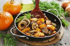 Chicken liver with pumpkin Royalty Free Stock Photos
