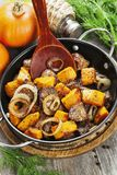 Chicken liver with pumpkin Stock Images