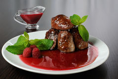 Chicken liver with raspberry sauce Stock Image