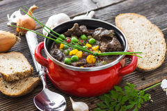 Chicken liver in  sauce with vegetable Stock Image