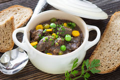 Chicken liver in  sauce with vegetable Stock Photography