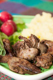 Chicken liver served with mashed potatoes, onions and radishes.  Stock Images