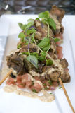 Chicken liver skewers Royalty Free Stock Photography