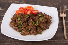 Chicken liver stir fry Royalty Free Stock Photos