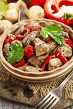 Chicken liver with sweet pepper and tomatoes Stock Photography