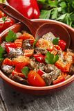Chicken liver with sweet pepper and tomatoes Royalty Free Stock Photos